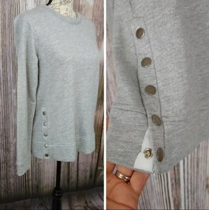 Gibson French Terry Gray Side Button Sweater NWT